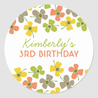 Daisy Pop Sweet Lime Girl Birthday Party Sticker