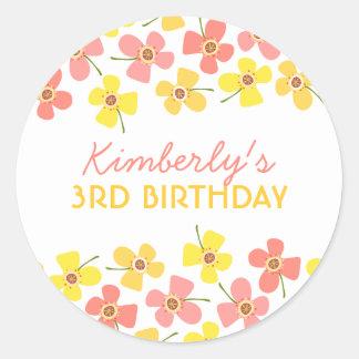 Daisy Pop Sweet Pink Girl Birthday Party Sticker