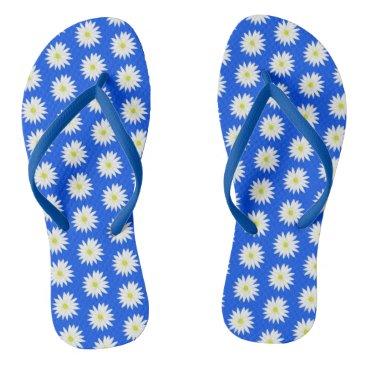 Beach Themed daisy print flip flops