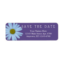 Daisy Purple Wedding Ultra Violet Save The Date Label