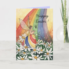 Daisy Rainbow Easter Card - From an original watercolor illustration!