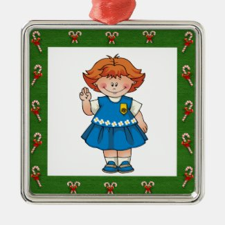 Daisy Red Hair Green Frame Candycanes Metal Ornament