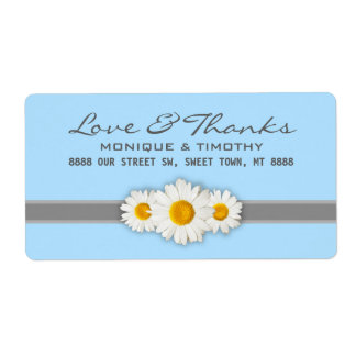 Daisy Ribbon - Blue Gray - Address Label Thank You