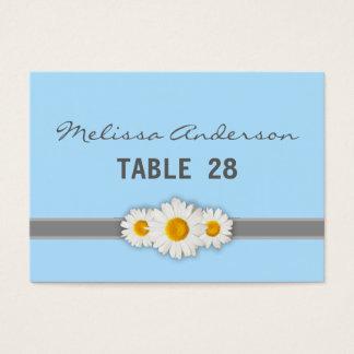 Daisy Ribbon - Blue Gray & White Escort Card