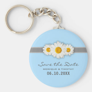 Daisy Ribbon - Blue Gray & White Save the Date Basic Round Button Keychain