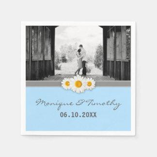 Daisy Ribbon - Blue Gray & White Wedding Standard Cocktail Napkin