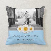 Daisy Ribbon Blue Wedding Anniversary Throw Pillow