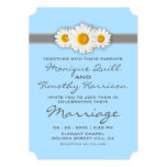 Daisy Ribbon Blue Wedding Invitation Card