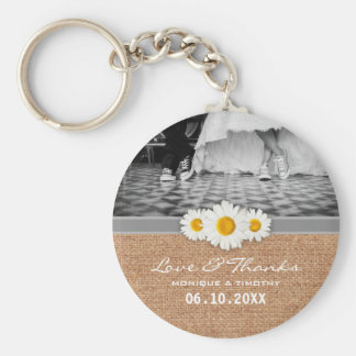 Daisy Ribbon - Burlap Gray & White Love and Thanks Keychain