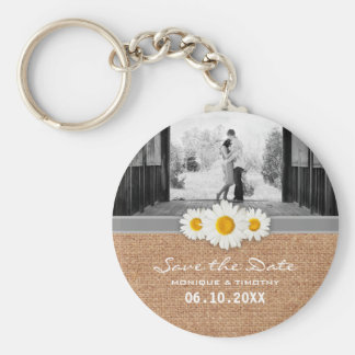 Daisy Ribbon - Burlap Gray & White Save the Date Basic Round Button Keychain