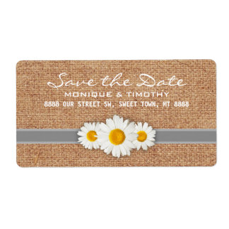 Daisy Ribbon - Burlap Gray & White Save the Date Label