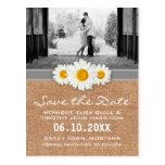 Daisy Ribbon - Burlap Gray & White Save the Date Postcard