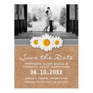 Daisy Ribbon - Burlap Gray & White Save the Date Postcard