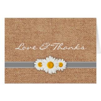 Daisy Ribbon - Burlap Gray & White Thank You Card