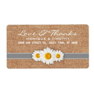 Daisy Ribbon - Burlap Gray & White Thank You Label