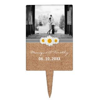 Daisy Ribbon - Burlap Gray & White Wedding Cake Topper