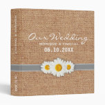 Daisy Ribbon Burlap - Yellow Gray & White Wedding Vinyl Binders