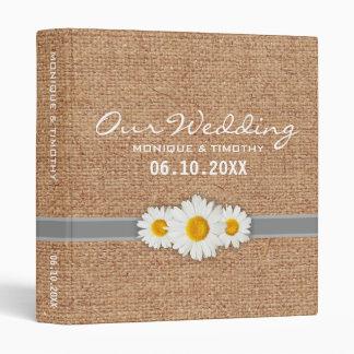 Daisy Ribbon Burlap - Yellow Gray & White Wedding Vinyl Binder