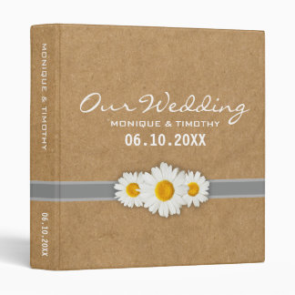 Daisy Ribbon Faux Paper Yellow & White Wedding 3 Ring Binders