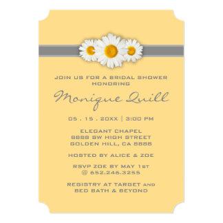 Daisy Ribbon - Yellow Gray & White Bridal Shower Card