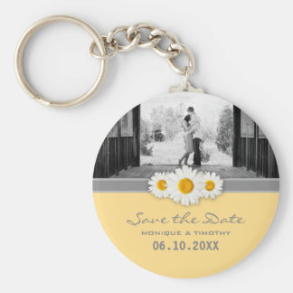Daisy Ribbon - Yellow Gray & White Save the Date Basic Round Button Keychain