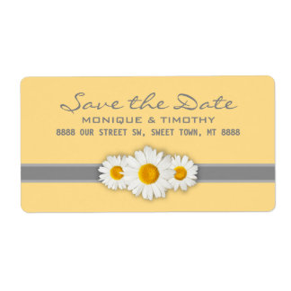 Daisy Ribbon - Yellow Gray & White Save the Date Label