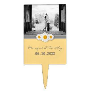 Daisy Ribbon - Yellow Gray & White Wedding Cake Topper