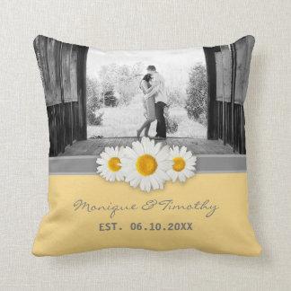 Daisy Ribbon - Yellow Gray & White Wedding Throw Pillow