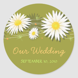 Daisy Save The Date Wedding Announcement 2 Classic Round Sticker