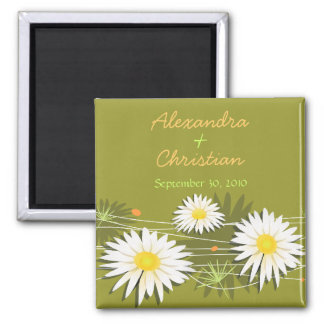 Daisy Save The Date Wedding Announcement 3 2 Inch Square Magnet