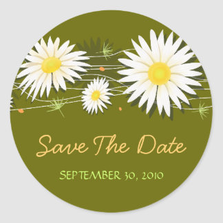 Daisy Save The Date Wedding Announcement Classic Round Sticker