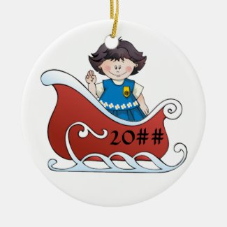 Daisy Scout Sled Black Hair Ceramic Ornament
