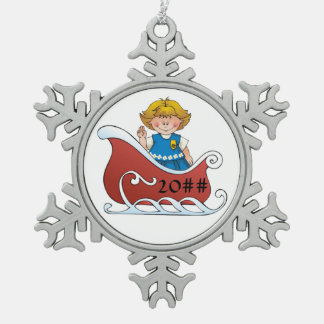 Daisy Scout Sled Blonde Snowflake Pewter Christmas Ornament