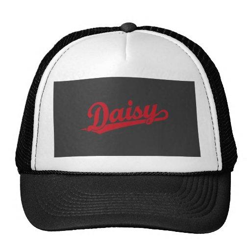 Daisy Script Logo in Red Trucker Hat
