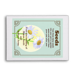 Daisy Seed Packet Wedding Favor Envelope