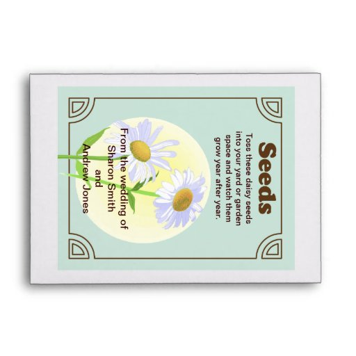 Daisy Seed Packet Wedding Favor Envelopes | Zazzle