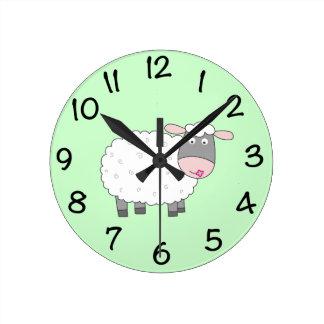 Daisy Sheep Round Wallclock