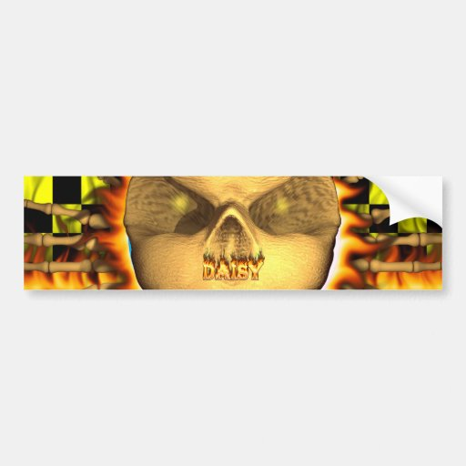 Daisy skull real fire and flames bumper sticker