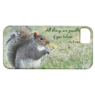 Daisy Squirrel Mark 9:23 iPhone 5 Barely ThereCase iPhone 5 Cover