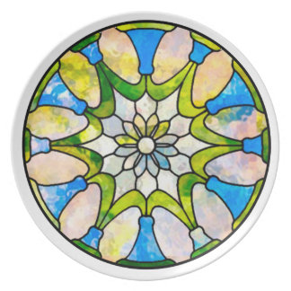 Daisy Stained Glass Nouveau Plate