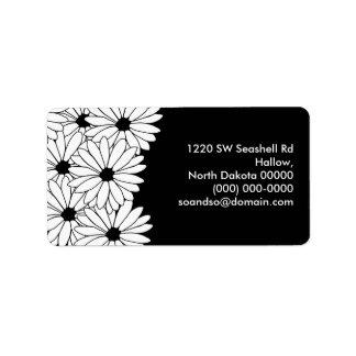 Daisy Storm Address Label Black
