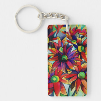 Daisy straw multicoloured wildflower keychain
