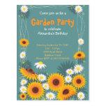 Daisy Sunflower Garden Birthday Party Invitation 2 Postcards