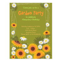 Daisy & Sunflower Garden Birthday Party Invitation Postcard