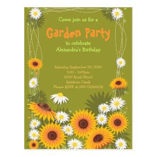 Daisy & Sunflower Garden Birthday Party Invitation Postcard