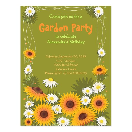 Daisy & Sunflower Garden Birthday Party Invitation Post Cards