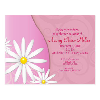 Daisy Swirl Baby Shower Invitation Postcard