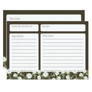 Daisy Tea Floral 5x7 Recipe Card