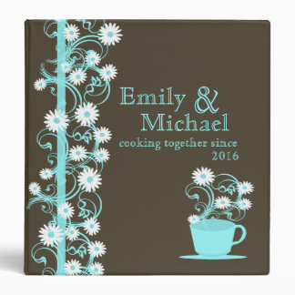 Daisy Tea Party Recipe Collection Brown and Aqua Binder
