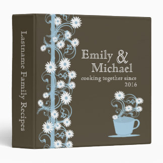 Daisy Tea Party Recipe Collection Brown and Blue 3 Ring Binders